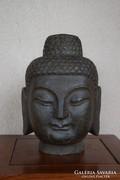 Valódi kő Buddha fej! 26 cm magas, fagyálló!