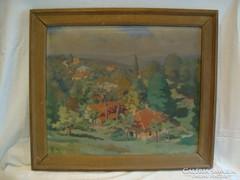 Olaj-vászon festmény Szigliget tájkép látkép