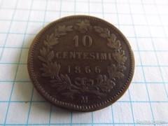 Szép  10  Centesimi 1866 !!