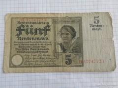 Ritka 5 Rentenmark Németország, 1926 !!