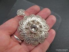 Antik nagy filigrán ezüst medál - dekoratív nagy ékszer