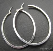 Ovális forma karika fülbevaló - ezüst ékszer