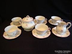 Pajzspecsétes Zsolnay porcelán teáskészlet