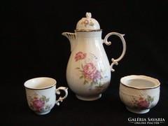 Hollóházi porcelán kávéskészlet darabok kiöntő cukros
