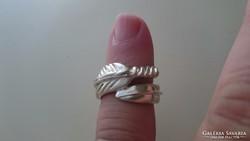 """Ezüstözött különleges gyűrű """"madártoll"""""""
