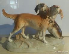 41 x 27 cm-s Royal Dux óriás vadászkutyapár