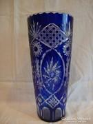 Csiszolt kék pácolt üveg váza