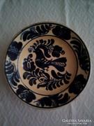 Korondi kék madaras tányér, falitányér
