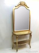 Antik arany faragott konzolasztal tükörrel
