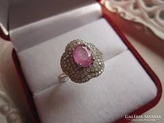 Természetes rózsaszínű rubin ezüst gyűrű - 1,6 cm