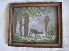 Régi selyem kép,selyemre festett kép