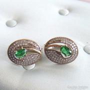 Ezüst Hürrem fülbevaló Smaragd és fehér topáz kövekkel