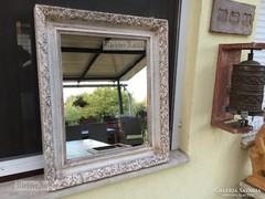 Provence bútor, antikolt fehér tükör 55.