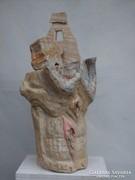 Mátyás András szobrászmüvész szinezett fa szobra, 87X41X46cm