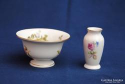 Miniatűr, régi Herendi és Hollóházi porcelán tálka és váza