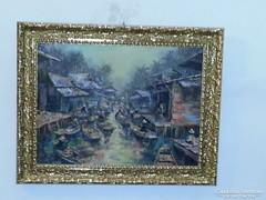 """Festmény """"Úszó piac"""""""