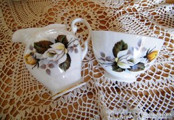 Angol porcelán cukortartó, kiöntő 7 x 11 cm