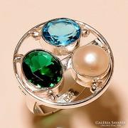 925 ezüst féldrágakő gyűrű