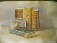 P118 Alder Jenő akvarell 1905 : Antik könyvek