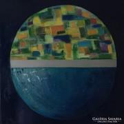 Eredeti,modern absztrakt, kortárs olajfestmény - Blue World