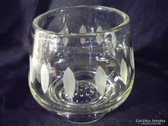 Q711 Csiszoltüveg asztalközép mogyorós tál