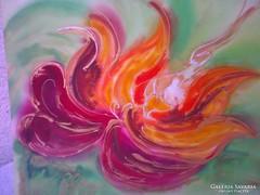 Gyönyörű selyemre festett kép