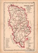Torontál megye közigazgatási térkép 1880, eredeti, vármegye, XIX. század, régi, antik, eredeti