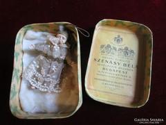 Antik PAPÍRMASÉ karácsonyfadísz eredeti doboz 1908