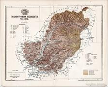 Maros - Torda vármegye térkép 1895, antik, eredeti