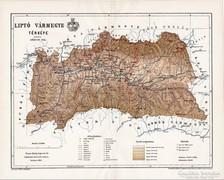 Liptó vármegye térkép 1895, antik, eredeti