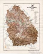 Hunyad vármegye térkép 1894, antik, eredeti