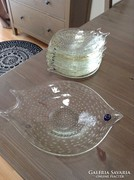 Rég Muranoi kristály üveg halas kínáló készlet