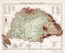 Magyarország hegy- és vízrajzi térkép 1897, eredeti, antik