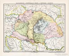 Magyarország a honfoglalás végén térkép, kiadva 1897