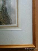 Régi kép fa kerettel 19x25 cm