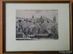 Régi fekete fehér kép keretezve 19x25 cm
