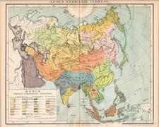 Ázsia néprajzi térkép 1894, eredeti, antik
