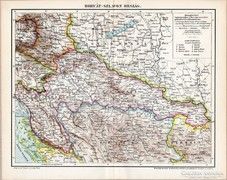 Horvát - Szlavon ország 1895 térkép, eredeti, antik