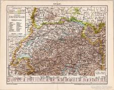 Svájc térkép 1898, antik, eredeti