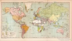 A Föld képe Mercator projekcióban 1894, antik, eredeti