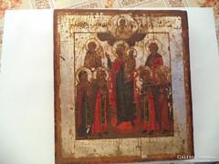 Antik orosz ikon tojástempera ezüstözött