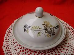 Ritka Orosz Riga porcelán aranyozott vajtartó,lekvártartó