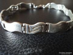 Görög mintás, ezüst karkötő, karlánc