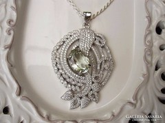 Zöld ametiszt köves Ezüst medál és nyaklánc együtt 22 gr