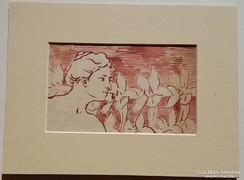 Nádler Róbert szecessziós nő akvarell!!
