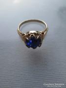 Gold filled női gyűrű  s. kék kövel 18 mm
