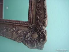 Gyönyörű 130 X 67 cm antik blondel keretben tükör, fa, gipsz