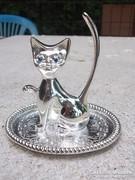 Ékszetrartó cica-macska tálcával ezüstszín