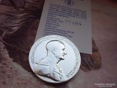 Horthy újratemetése ezüst érme Ritka!!2000 db 32 g 0,925 II.