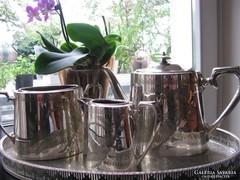 Szecessziós ezüstözött jelzett teáskészlet áttört tálcával